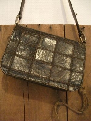 Sac cuir patchwork serpent