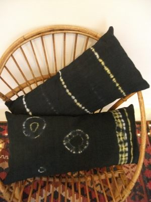 2 coussins lin ancien anthracite tye and dye